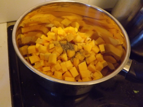 The squash cooking with thyme and Garam Masala
