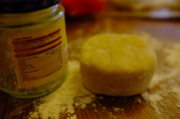 Jam jar and pastry dough