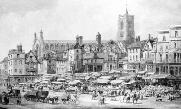 Norwich Market Place by David Hodgson, 1855